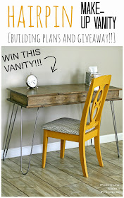 DIY Hairpin leg, make-up vanity. Free building plans and giveaway!