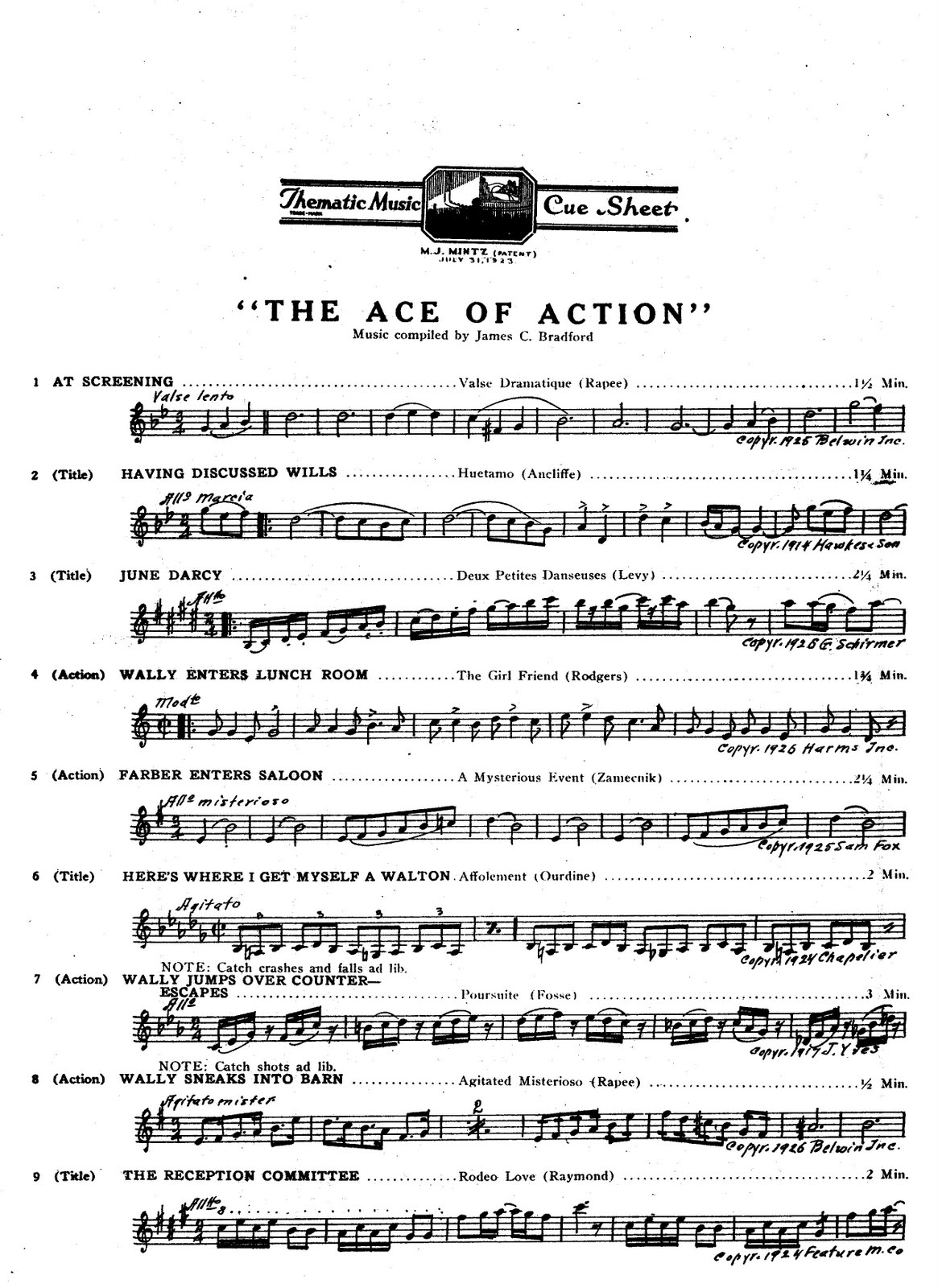 Image result for cue sheet for silent film