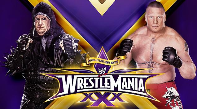 undertaker lucha vs brock lesnar en wrestlemania 30 y se juega su racha de victorias ante la bestia brock lesnar