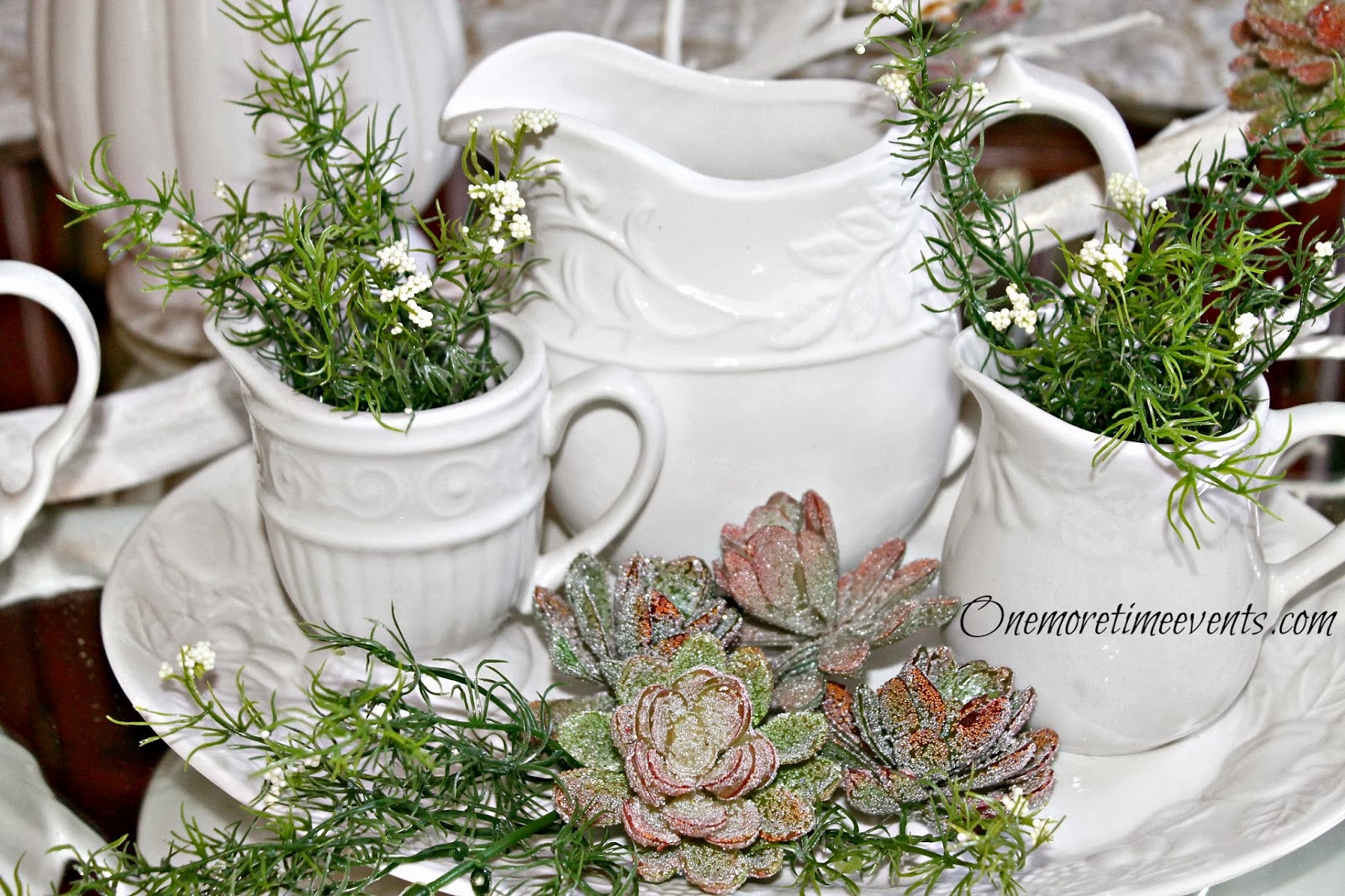 White Pitchers with succulents at One More Time Events.com