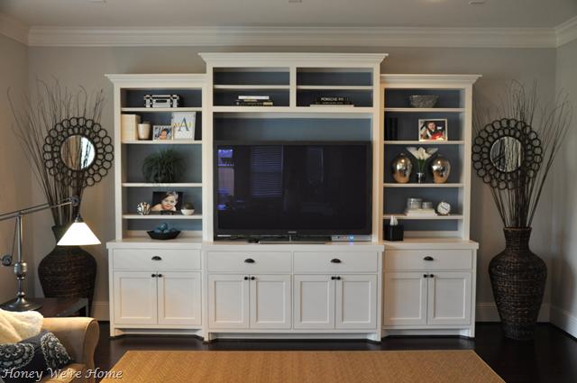 Honey we 39 re home media cabinet makeover bookshelf styling for Media center with bookshelves