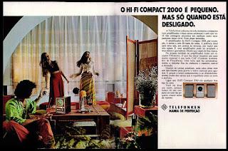 Telefunken, aparelho de som, anos 70.  1974. década de 70. os anos 70; propaganda na década de 70; Brazil in the 70s, história anos 70; Oswaldo Hernandez;