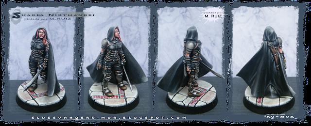 Acabado de pintado realizado por m.RUIZ en exclusividad para la miniatura esculpida por RU-MOR de un personaje de Ghilbrae para el juego de rol de Aventuras en la Marca del Este