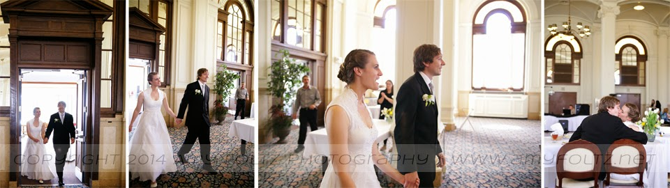 photos of bride and groom entering wedding reception at O'Shaughnessy Hall