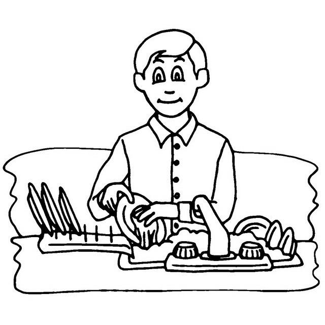 COLOREA TUS DIBUJOS: Niño lavando platos para colorear y pintar
