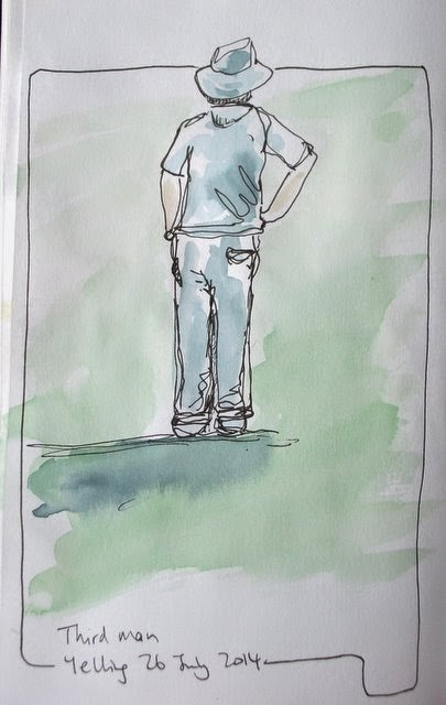 Third man, cricketer ink and watercolour sketch