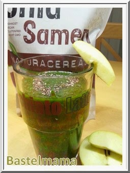 grüne Smoothie, Spinat, Chiasamen, Apfel