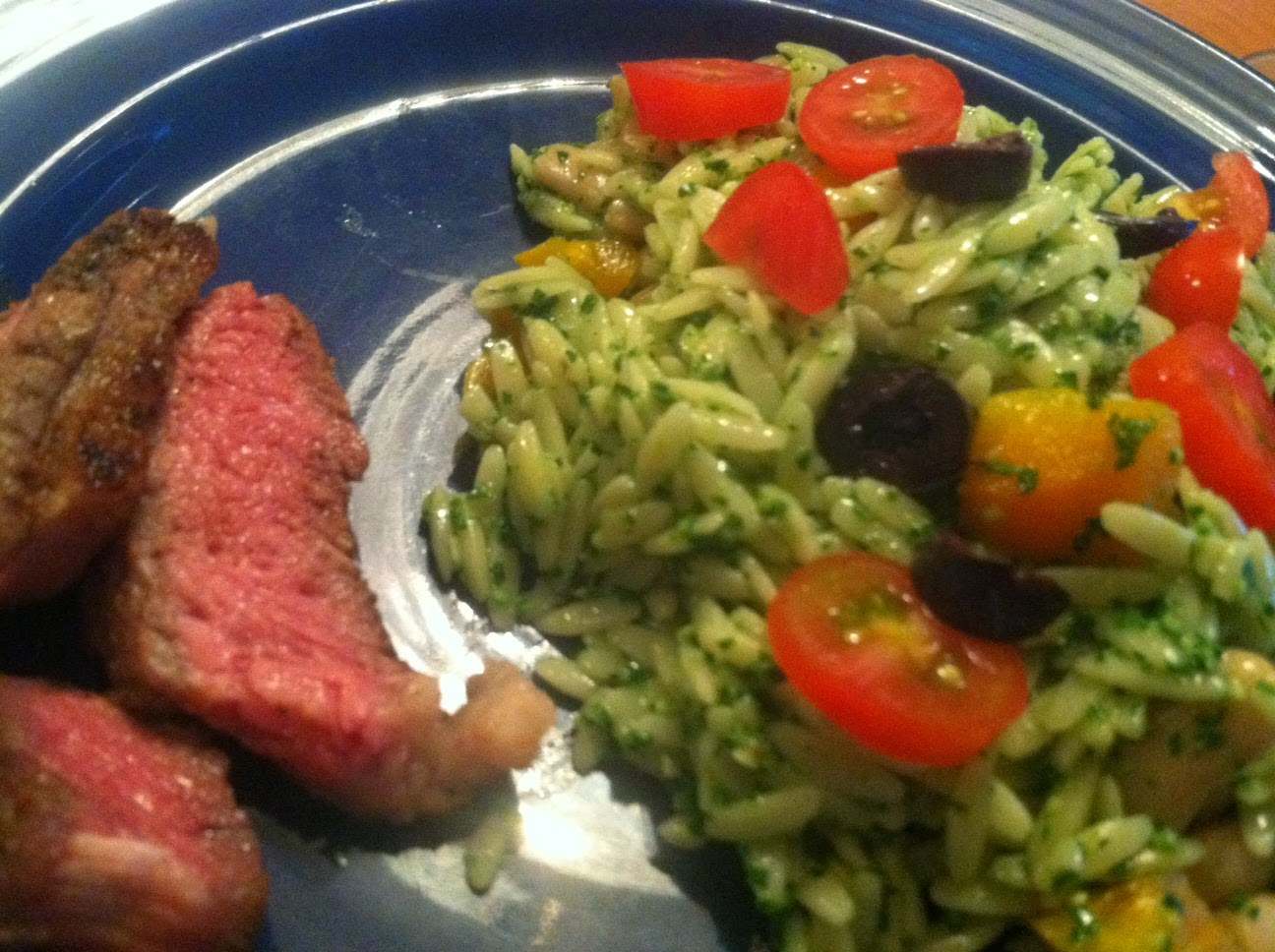 Orzo with Kale Pesto served with grilled steak. Cooking Chat recipe