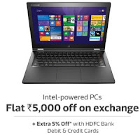 Buy Laptops Extra upto 40% off & upto Rs. 5000 off on Exchange & 5% off for HDFC Cards at Flipkart