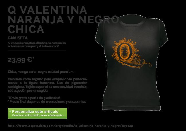 Camiseta Q Valentina Naranja y Negro