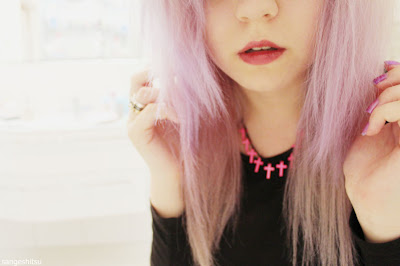 Pastel Purple Hair + Cross Necklace
