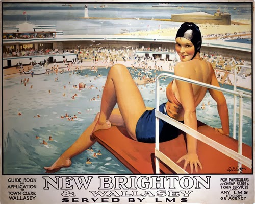 New brighton vintage railway poster