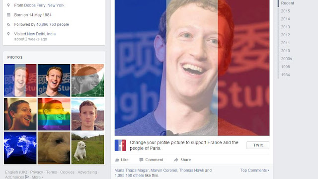 how to change your display or profile picture on Facebook to france's flag to show support and sympathy for Paris attacks