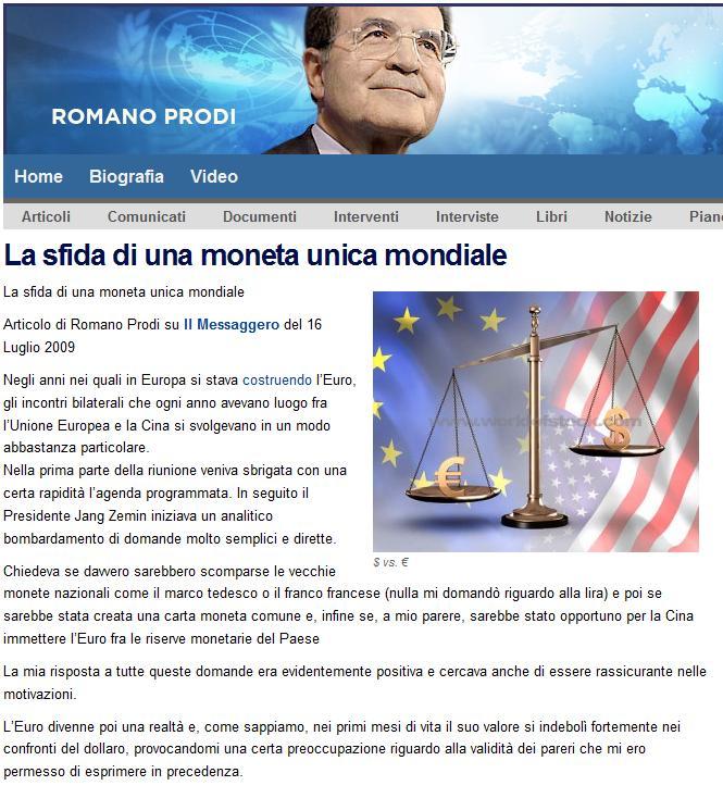 El reto de una moneda única mundial (Romano Prodi, 2009) Prodimoneta