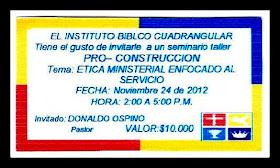 EL INSTITUTO BIBLICO CUADRANGULAR INVITA A UN SEMINARIO TALLER
