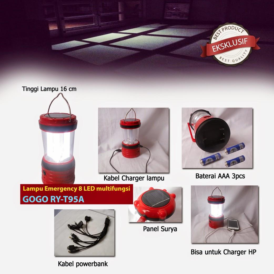 Lampu 8 Led tenaga surya powerbank gogo RY-T95A