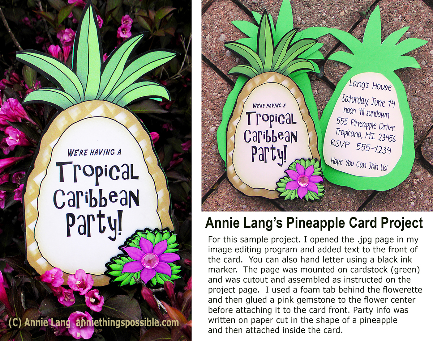 Annie langs blog tropical party ideas use annie langs tropical pineapple card project to make fun invitations for your tropical themed parties monicamarmolfo Images