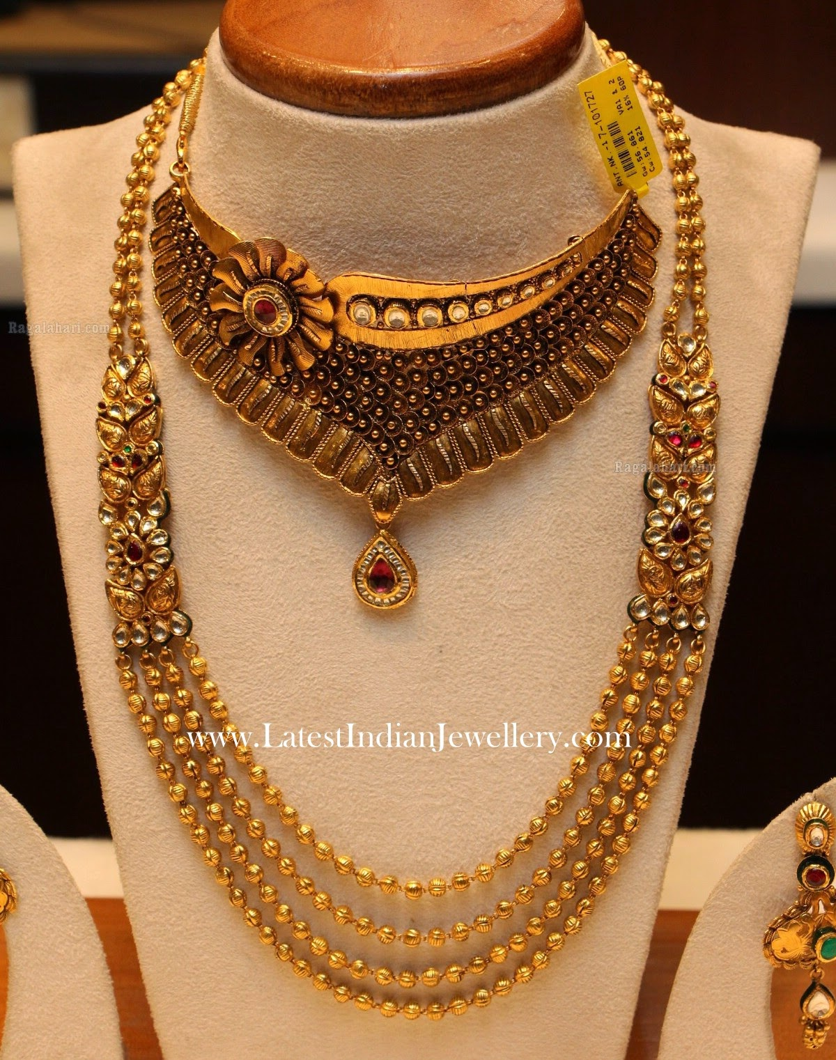 Trendy Choker and Gold Beads Mala
