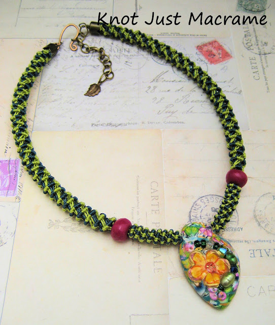 Knotted spiral macrame necklace designed by Sherri Stokey
