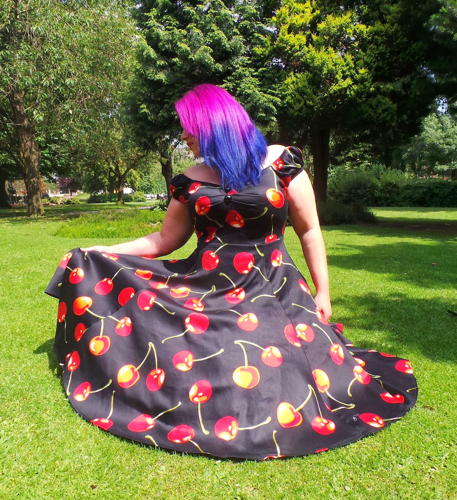 Collectif cherry stem dress, purple and blue hair