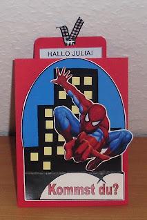 Schön Diese Karte Hab Ich Zum Beispiel Noch Nicht Gezeigt, Ich Hab Sie Als  Einladung Für Den Spiderman Kindergeburtstag Von Meinem Sohnemann Gemacht.