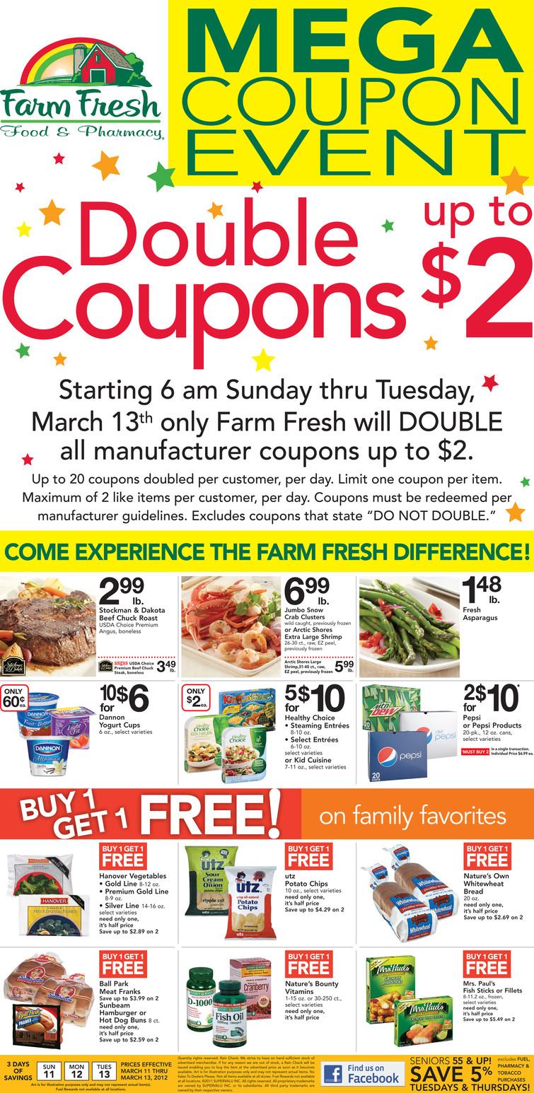 Farm fresh double coupons wednesday