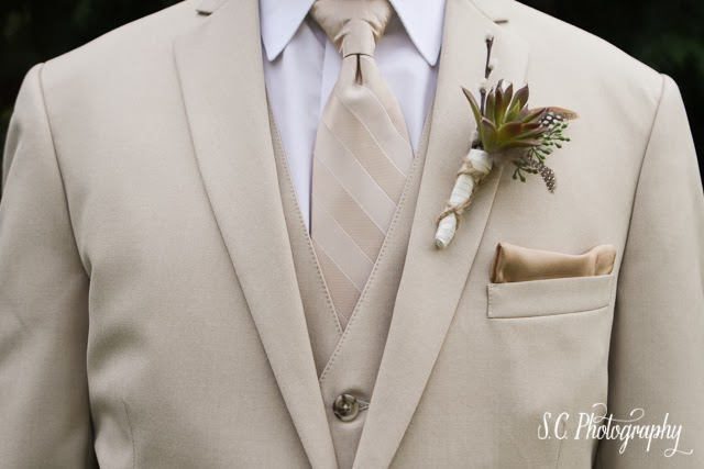 Khaki suit, tie, pocket square, vest, groom