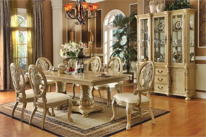 Antique dining room furniture styles white classic design for Antique dining room decorating ideas