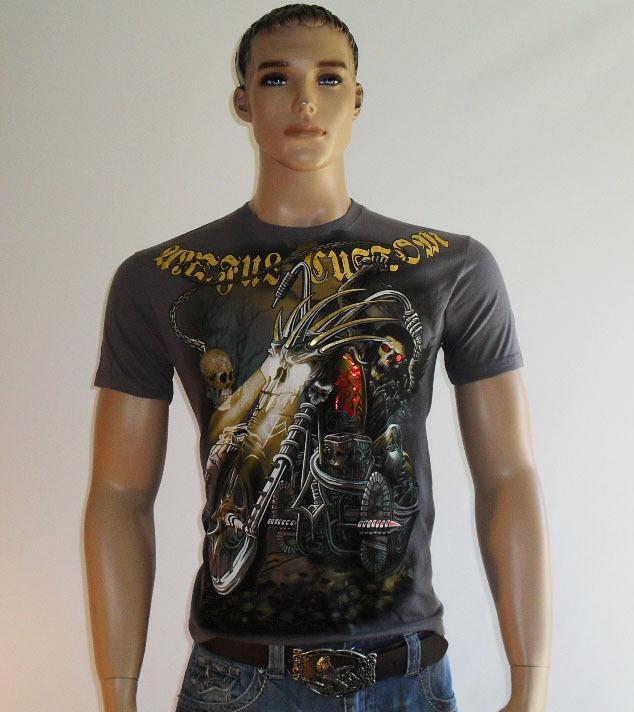 3 Skulls Mens T-Shirt Biker Tattoo Motorbike Motorcycle Gothic Heavy Metal Rock