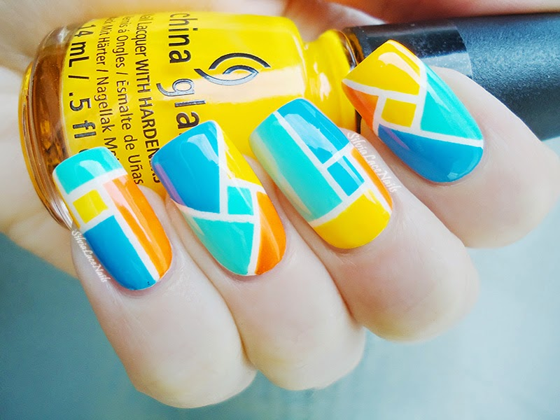 Silvia lace nails geometric neon color block nail art geometric neon color block nail art prinsesfo Images