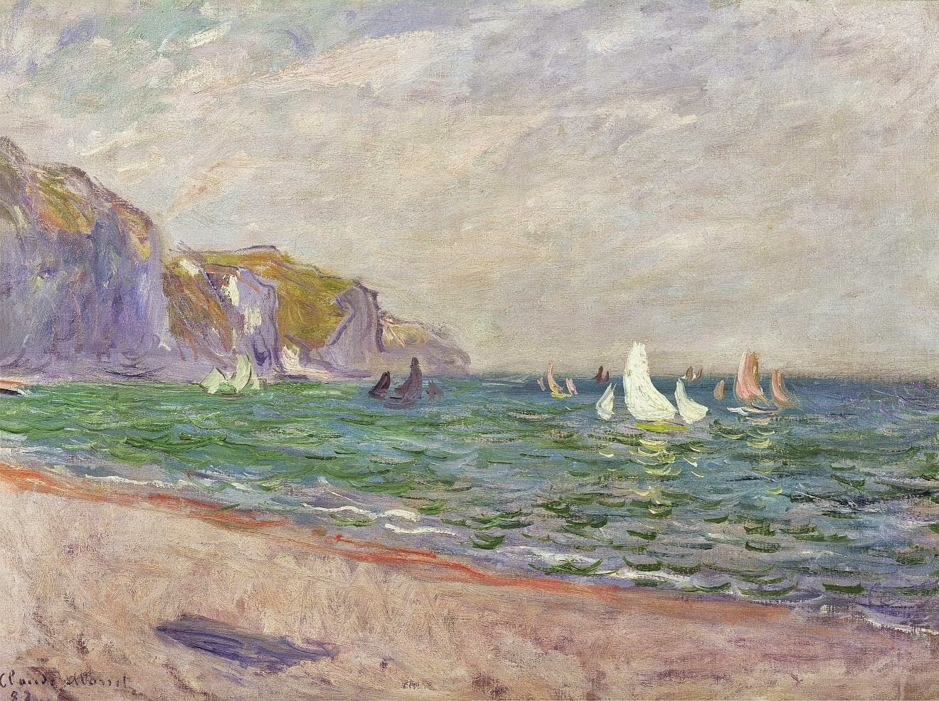 Bateaux devant les falaises de Pourville (1882)