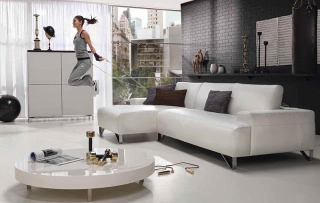 Gambar Desain Ruangan Sempit Mungil Kombinasi Abu-Abu Hitam Putih