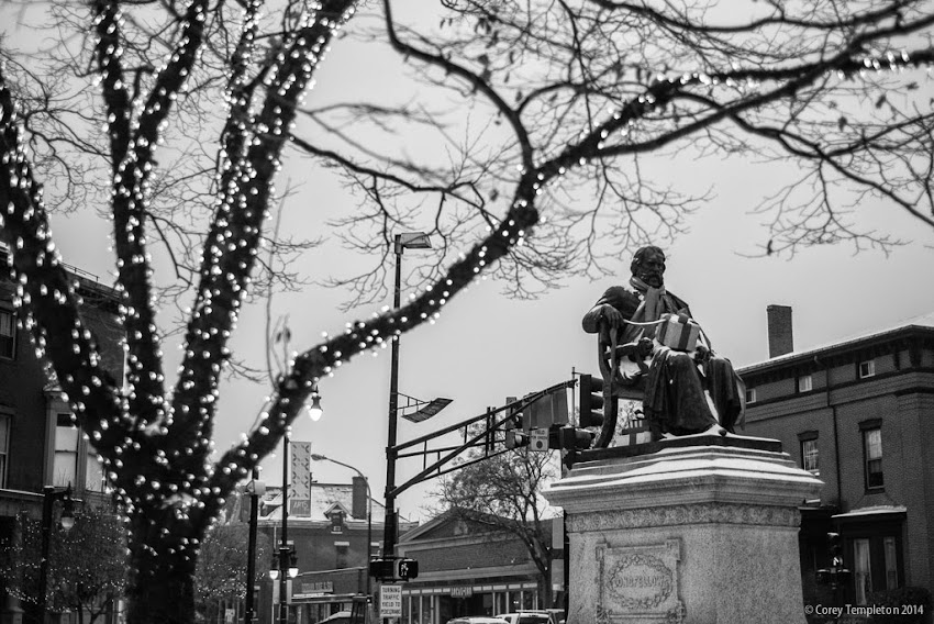 Henry Wadsworth Longfellow statue in Longfellow Square Portland, Maine December 2014 photo by Corey Templeton