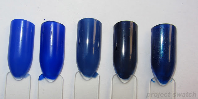 swatches - 1 - Nails, Inc. Baker Street, 2 - Revlon Royal, 3- OPI Dating a Royal, 4- Kleancolor Neon Sapphire, 5- WnW Blue Moon