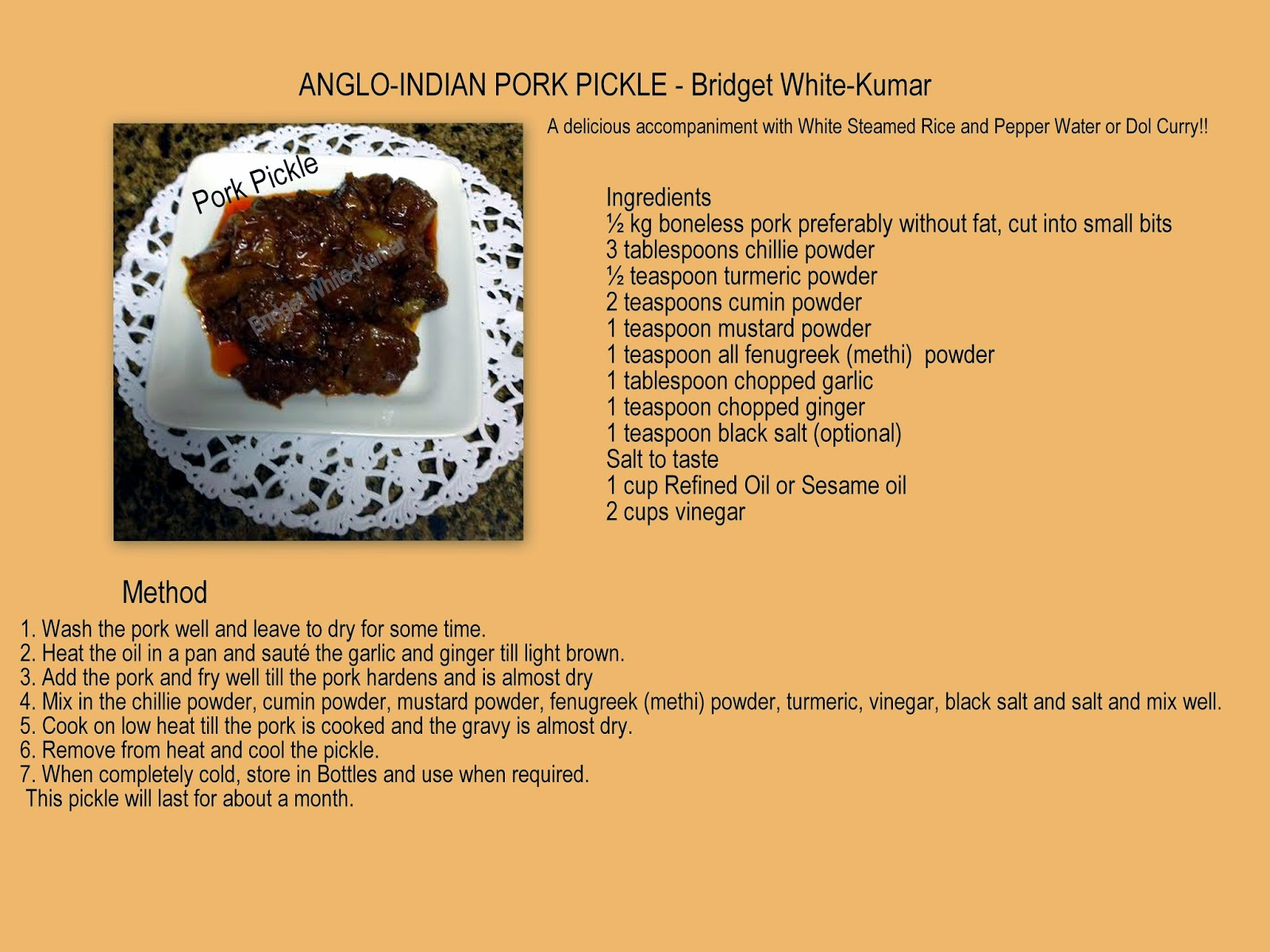 Anglo indian food by bridget white kumar anglo indian pork pickle a delicious accompaniment with white steamed rice and pepper water or dol curry forumfinder Choice Image
