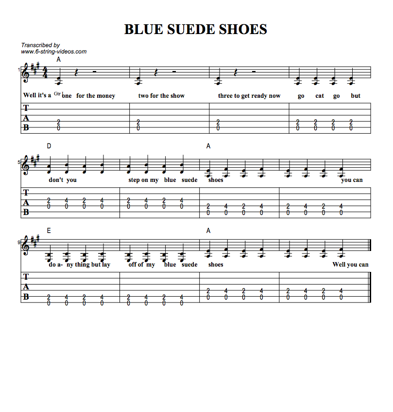 Guitar Tabs: Tab Sheets For Blue Suede Shoes & Guitar Lesson
