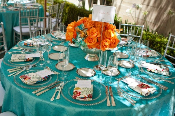 Wedding color inspiration turquoise and orange lots of love susan - Decoration table mer ...