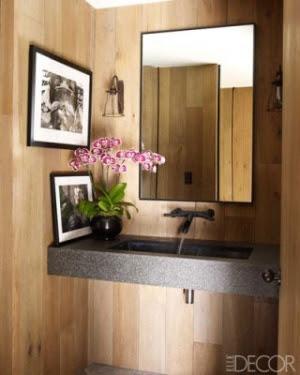 lavabo revestido em madeira