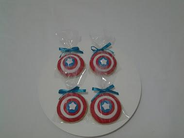 Biscoito de decorados escudo do Capitão América