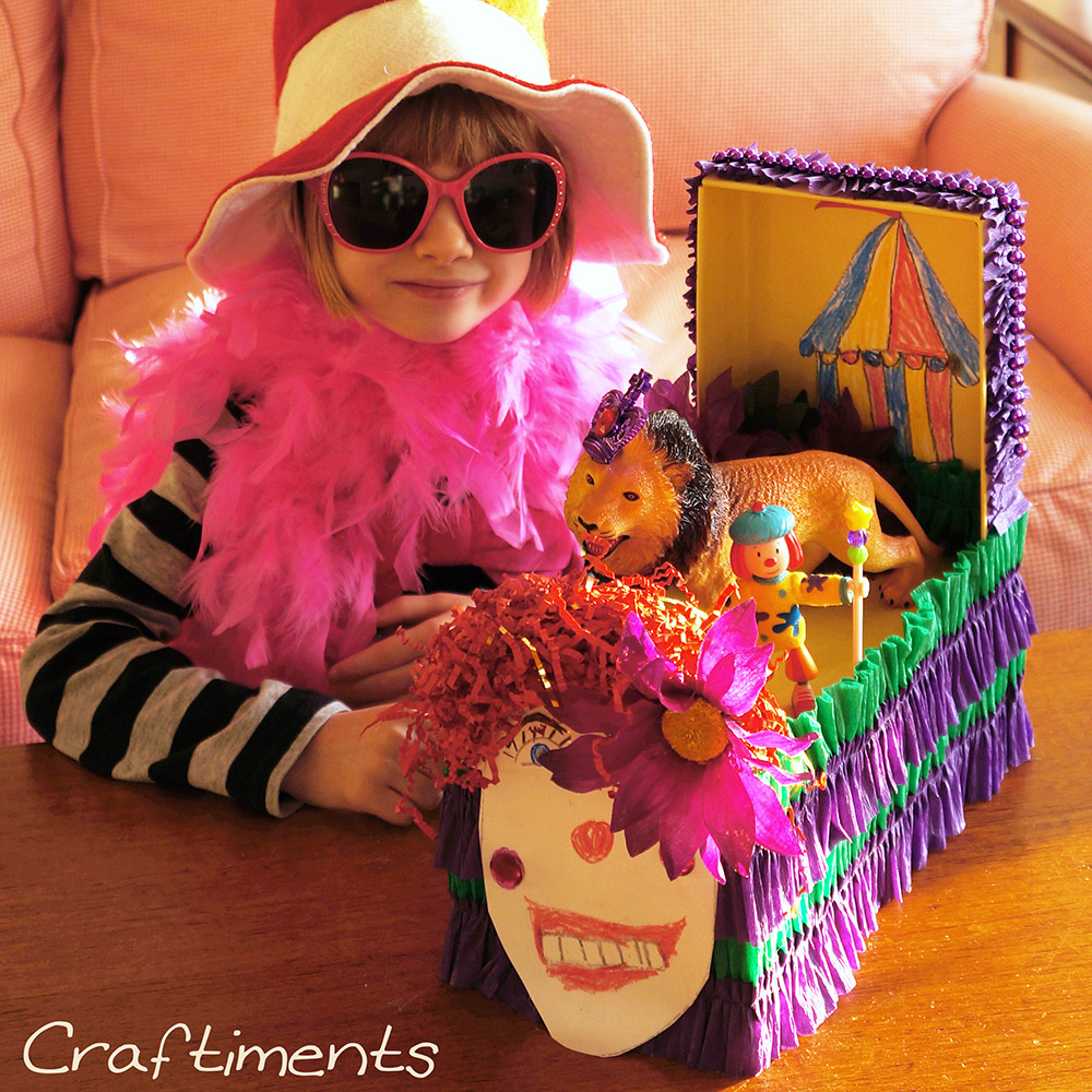 Craftiments:  Mardi Gras Shoebox Float