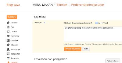 Cara menampilkan deskripsi penelusuran pada blog