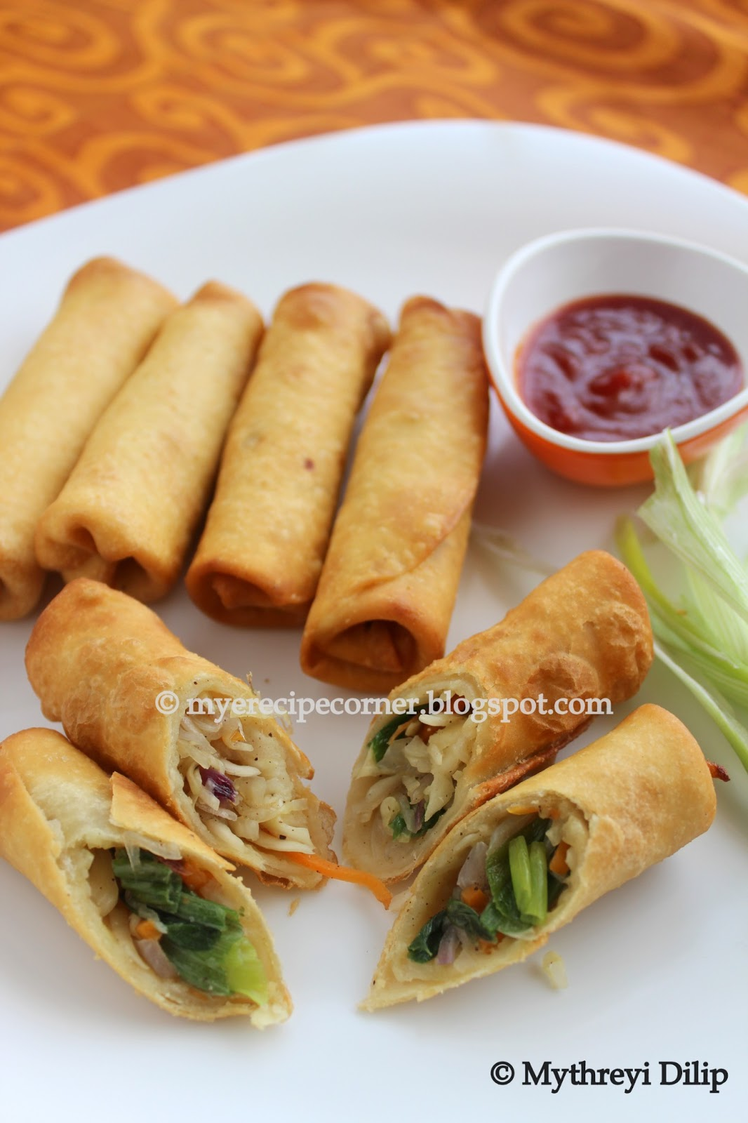Mye's Kitchen: Vegetable spring rolls - Indian Chinese style