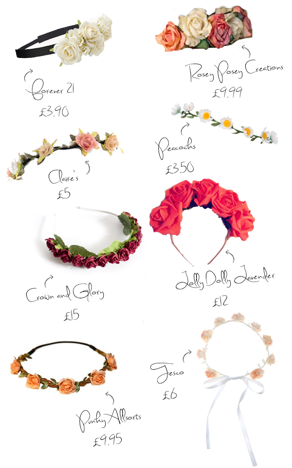 High street flower headbands and flower crowns