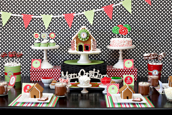 gingerbread themed christmas party free printable party download - Christmas Party Decorations