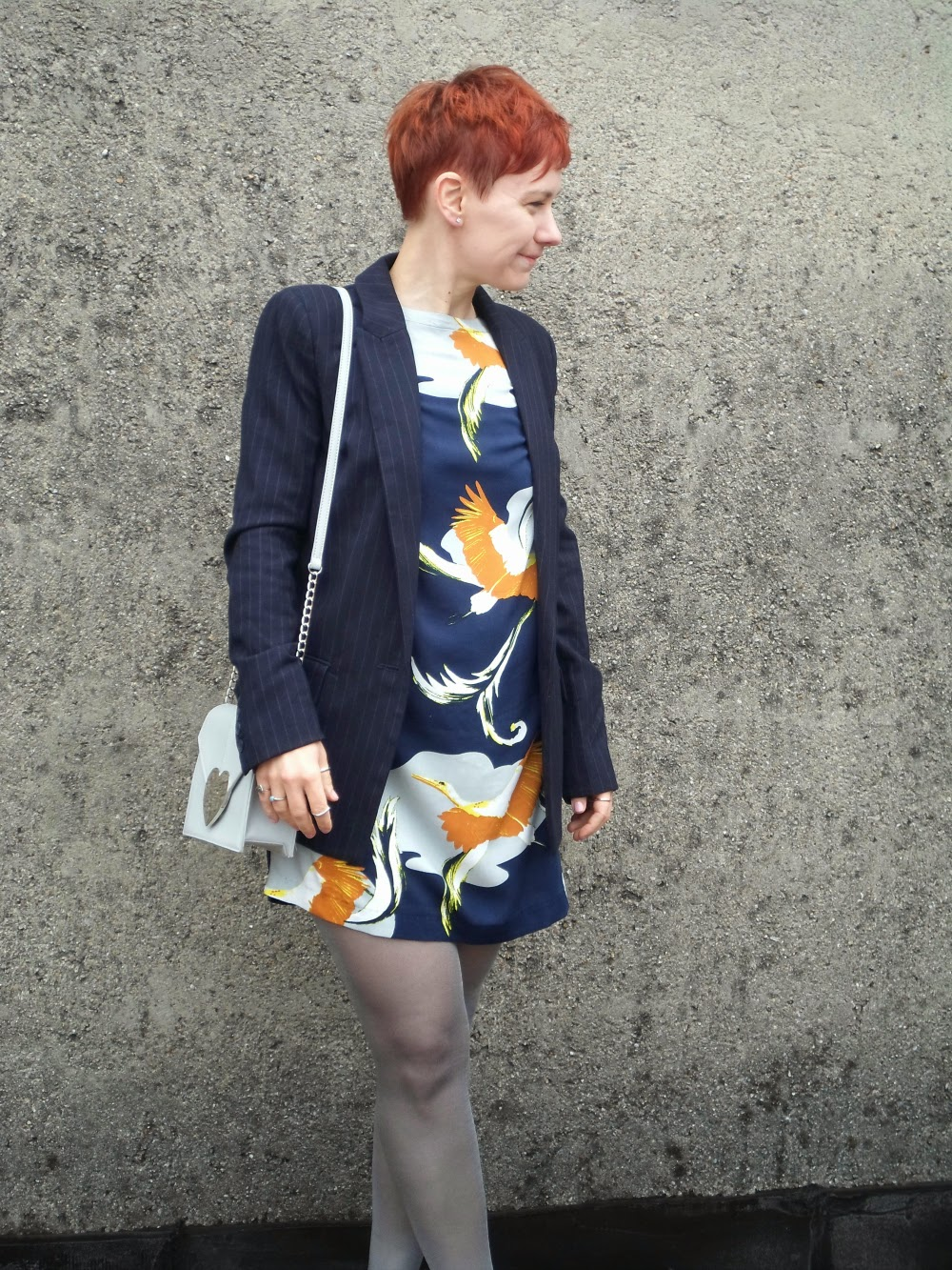 Sunday lunch outfit: Bird print dress, pinstripe blazer, heels, silver tights, hearts bag | Sunday Lunch - Funky Jungle, fashion and personal style blog