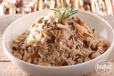 add onion and stir until golden brown then add meat Lebanese biryani rice recipe
