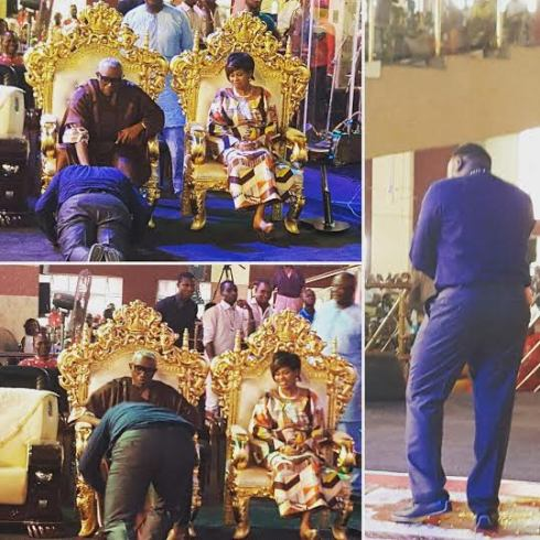 Photos: Comedian Jedi prostrates before Bishop Ayo Oritsejafor