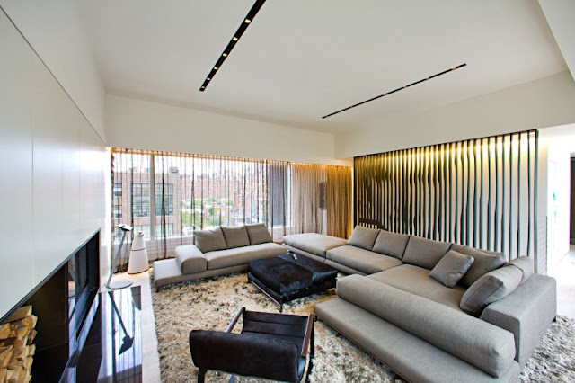 Photo of modern living room in one of the modern New York penthouses