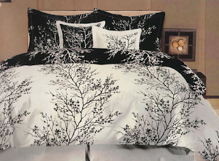 black and white fall foliage comforter set