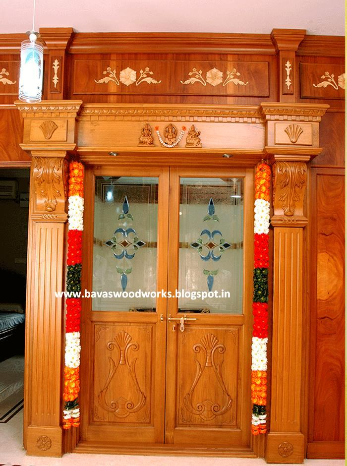 Carpenter work ideas and kerala style wooden decor pooja for House room door design